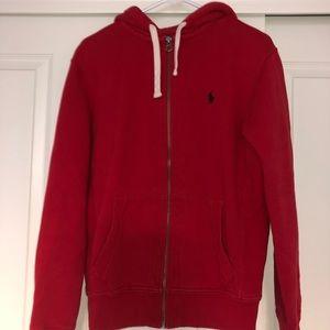 Red Ralph Lauren Polo Zip Up Hoodie